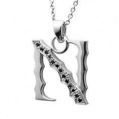 Men's Black Diamond Initial N Necklace in Sterling Silver