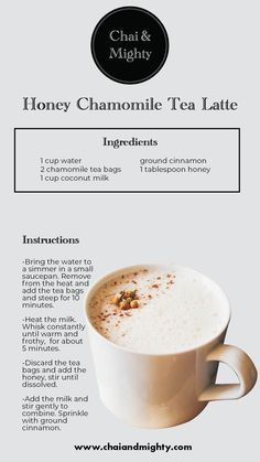 The Honey Chamomile Tea Latte is a sweet homemade recipe that is easy to make, with easily available ingredients! This tea will soothe your nerves and help you calm down after a stressful day at work! Milk Tea Recipes, Coffee Recipes, Yummy Drinks, Healthy Drinks, Healthy Recipes, Healthy Foods, Plat Vegan, Tea Brands, Cooking Tips