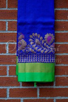 Dark Blue Plain Kuppadam Saree with Broad Pink/Zari/Peacock Border - Aliveni - 1 Blue Silk Saree, Tussar Silk Saree, Soft Silk Sarees, Pink Saree, Cotton Saree, Ethnic Sarees, Indian Sarees, Wedding Silk Saree, Saree Dress