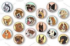 Set purebred dogs Graphics Vector illustration, set of badges funny purebred dogs, on a white backgroundVector graphics Insta by Mark2000
