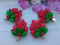 "Заколочки ""Клубника"" для волос из лент МК Канзаши / Hair clips ""Strawberry"" for hair from ribbons - YouTube"