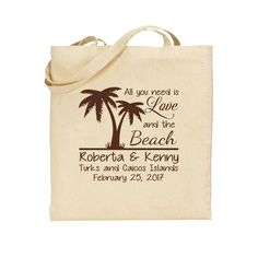 Wedding Tote Bags - Destination or Beach Wedding Out of Town Bags - Personalized Wedding Favors Perfect for Riviera Maya Mexico Punta Cana by Factory21 on Etsy