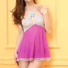 Sexy Gauze Halter Perspective Lace Patchwork Backless Temptation Babydoll For Women  ....  can never have too many sexy nighties to wear around the house...