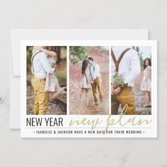 4 Photo Wedding Change of Plans New Years Holiday Save The Date