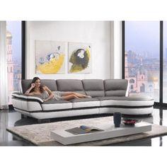 Bari (K8456) - Modern Two-Tone Top Eco-Leather Sectional Sofa - Sectional Sofas - Living Room