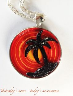 Sunset, quilled paper pendant by Yesterday's news - today's accessories