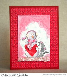 Newton's Nook Inky Paws Challenge | shurkus.com | Snowman and kitty valentine using Newton's Curious Christmas Stamp set!