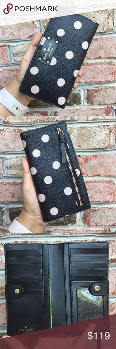 """Kate Spade Polka Dots Leather Wallet Brand New with tags Saffiano leather wallet Snap closure  12 CC slots  1 ID slot Bill slots  Outer zipped compartment for coins  Approximately 6.75"""" x 3.5""""   ✔️ Bundle Discounts  ✔️ Reasonable Offers through offer button  ❌ Low Balling  ❌ Trades kate spade Bags Wallets"""