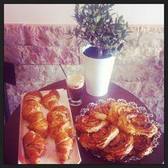 Fresh croissants and Danish