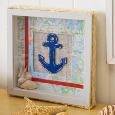 Nautical Themed Shadow Box. From Michaels. It's a kit you can buy. But you can totally do this yourself at home.