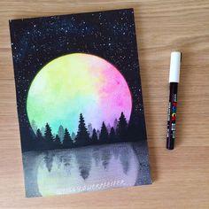 doodle art I love rainbow moons! Cute Canvas Paintings, Mini Canvas Art, 3 Canvas Painting Ideas, Doodle Art, Oil Pastel Art, Oil Pastels, Rainbow Painting, Rainbow Drawing, Aesthetic Painting