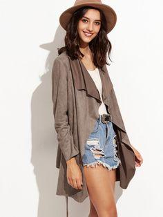 Brown Suede Waterfall Wrap Coat Wrap Coat, Brown Suede, Fashion Online, Duster Coat, Blazer, Jackets, Shopping, Waterfall, Women