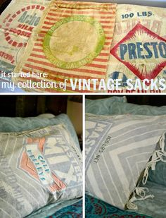 DIY Decorative pillow made of vintage grain sacks