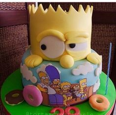 Simpsons Cake, Birthday Cake, Desserts, Food, Amazing Cakes, Toddler Photography, Children Photography, Food Cakes, Tailgate Desserts