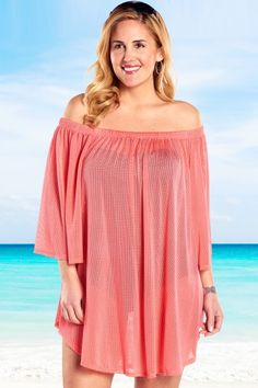 ffac2e0ef3d Always For Me Mesh Off the Shoulder Plus Size Cover Up Coral