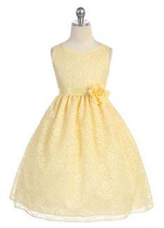 Girls Dress Style D749- YELLOW Sleeveless Lace Dress with Ribbon Sash
