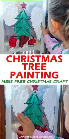 Mess Free Christmas Tree Painting – HAPPY TODDLER PLAYTIME Mess free Christmas tree painting for the Holidays! A fun and easy art activity that is perfect for all ages - babies, toddlers and preschoolers!  #christmascraftsforkids #christmascrafts #kidscrafts
