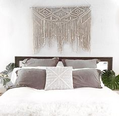 Large macramé wall hanging.