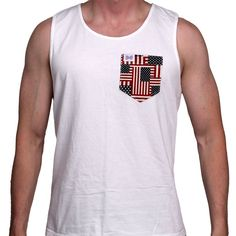 The Betsy Unisex Tank Top in White with American Flag Pocket by the Frat Collection  - 1