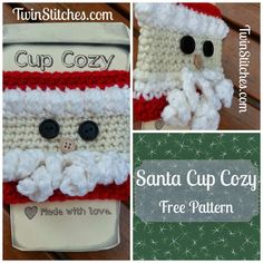 Santa Cup Cozy from Tw-In Stitches Blog - free pattern