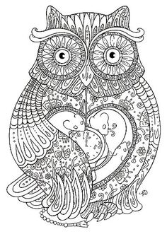 adult coloring page deco ornate owl