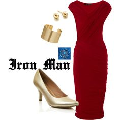 Things I'd like to wear, nerd style.  Iron Man, created by quirkyknitgirl on Polyvore