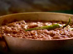 Spicy Refried Beans recipe from Marcela Valladolid via Food Network