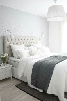 Gorgeous Tufted Headboard On Modern White And Grey Bedroom