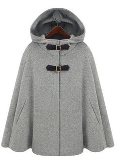 Love this Poncho! Grey Hooded Two PU Buckle Cashmere Wool Coat #Grey #Wool #Poncho #Fall #Winter #Fashion #Ideas