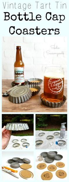 Once I realized that a vintage tart tin looked like an oversized beer bottle cap, I couldn't UNSEE it! So I decided to repurpose and upcycle a few fluted tart tins into DIY bottle cap coasters, which makes a great handmade Father's Day gift for Dad! Or any man in your life. Or, let's face it, anyone who loves beer or soda pop. #SadieSeasongoods / www.sadieseasongoods.com