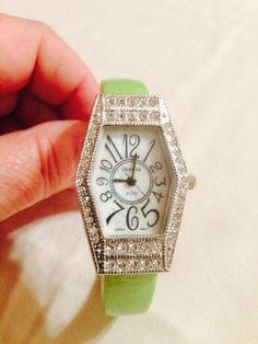 New Geneva Rhinestone Green Bangle Cuff Watch #Geneva #Fashion