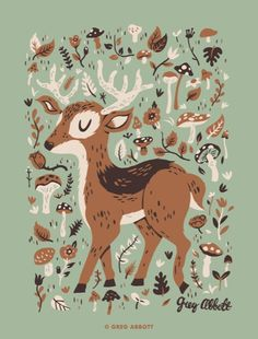 Reindeer and mushrooms. Woodland Creatures, Woodland Animals, Cute Illustration, Digital Illustration, Le Totem, Floral Drawing, Popular Art, Oh Deer, Reindeer