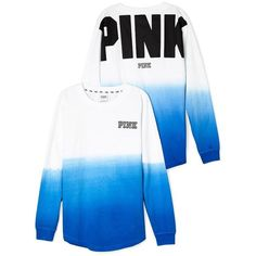 Victoria's Secret PINK Varsity Crew Dip Dye Gray Small at Amazon... ($70) ❤ liked on Polyvore featuring tops, victoria secret tops, dip dye top, grey top, victoria's secret and crew top