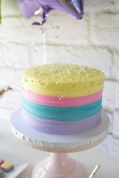 Cake from a Rainbow Unicorn Birthday Party via Kara's Party Ideas KarasPartyIdeas.com (23)