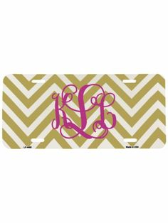Gold and White Large Chevron Print Metal License Plate