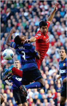 great shot - Evra and Suarez