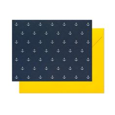 Sugar Paper navy with white anchor note cards and yellow envelope. Letterpress.