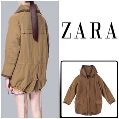 "SALEHPZARA Tan Faux-Suede Trim Jacket Perfect Winter Jacket by Zara in 100% Cotton Twill features hidden front zipper, wide collar with drawstring, deep front flap pockets,drawstring bottom, fully lined...Brand New.....Length:30.5"", sleeves:23"", Bust:39"" Zara Jackets & Coats"