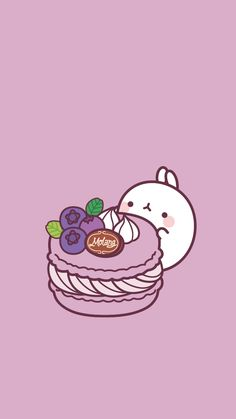 Molang with purple macaron