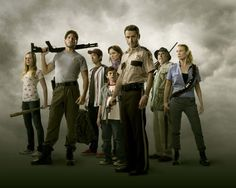 Still of Laurie Holden, Andrew Lincoln, Sarah Wayne Callies, Jon Bernthal, Steven Yeun and Chandler Riggs in The Walking Dead