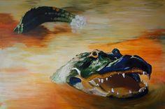Alligator Acrylmalerei Schausberger acrylic painting