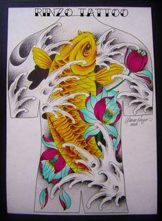 estudo de carpa e lótus para tattoo