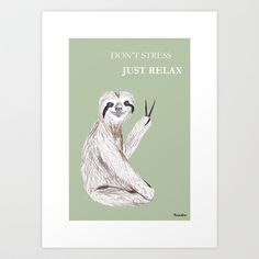 Relaxed Sloth Art Print by Kamikire - $18.72