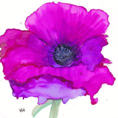 Pink / purple poppy original artwork in alcohol inks by Kitty69, $10.00