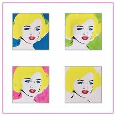 """Mini Marilyn Monroe paintings on 3"""" by 3"""" canvas   contemporary pop art painting by artist Liz Kelly Zook   wall art, stretched canvas, stretched canvas wall art, painting, pop art painting, contemporary pop art painting, colorful art, pop painting, home decor, nashville, pop artist, female pop artist, contemporary artist, paintings, nashville, marilyn monroe"""