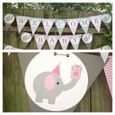 Elephant Themed Baby Shower or Birthday by TwoDoodlesDesigns