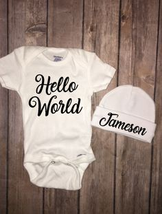 Hello World Baby Onesie And Personalized Beanie Hat Homecoming Outfit Baby Shower Gift Set