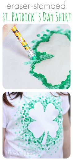 20 Green Attire DIY Saint Patrick's Day Party Ideas: Eraser-Stamped St. Patrick's Day Shirt - Made with Freezer Paper and a pencil eraser Kids Crafts, Craft Projects, Craft Ideas, Decor Ideas, Holiday Crafts, Holiday Fun, Eraser Stamp, St Patrick Day Shirts, Diy St Patricks Day Shirt