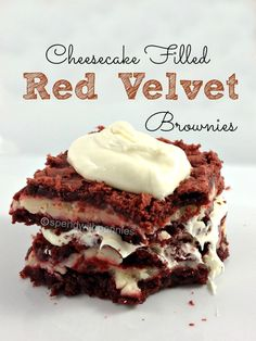 Cheesecake Filled Red Velvet Brownies
