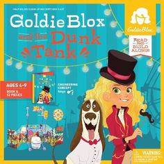 NEW! GoldieBlox and the Dunk Tank is Goldie's newest contraption to keep Nacho clean! Complete with Storybook, 1 animal figurine, 1 bouncy ball, 2 wheels, 9 short axles, 18 long axles, 12 blocks, 10 spacers, 2 targets, and 3 design ideas to keep building.  Price: $19.99 #goldieblox